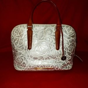 Brahmin Leather, Silver Flower Handbag